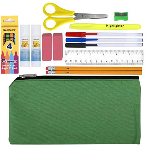 Pencil Case with School Supplies Inside - 18 Piece School Supply Packs for Kids