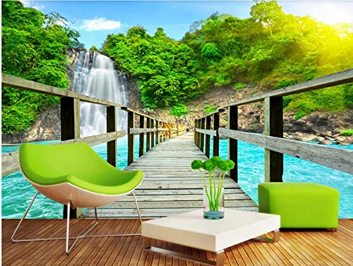MKmd-s Theme Room Hotel KTV Hotel Restaurant 3D Mural, Waterfall Mountains Wooden Bridge Lake