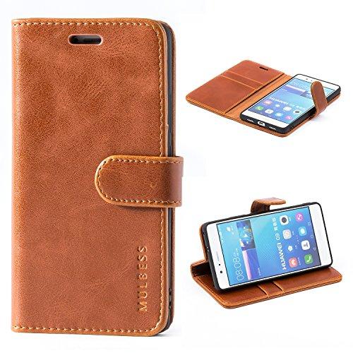 Mulbess Handyhülle für Huawei P9 Lite Hülle Leder, Huawei P9 Lite Handy Hülle, Vintage Flip Handytasche Schutzhülle für Huawei P9 Lite Hülle, Braun