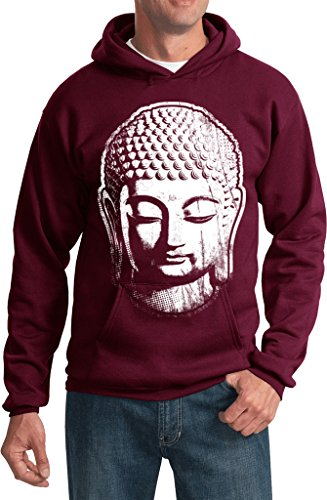 Mens Big Buddha Head Hoodie, Maroon, 4XL
