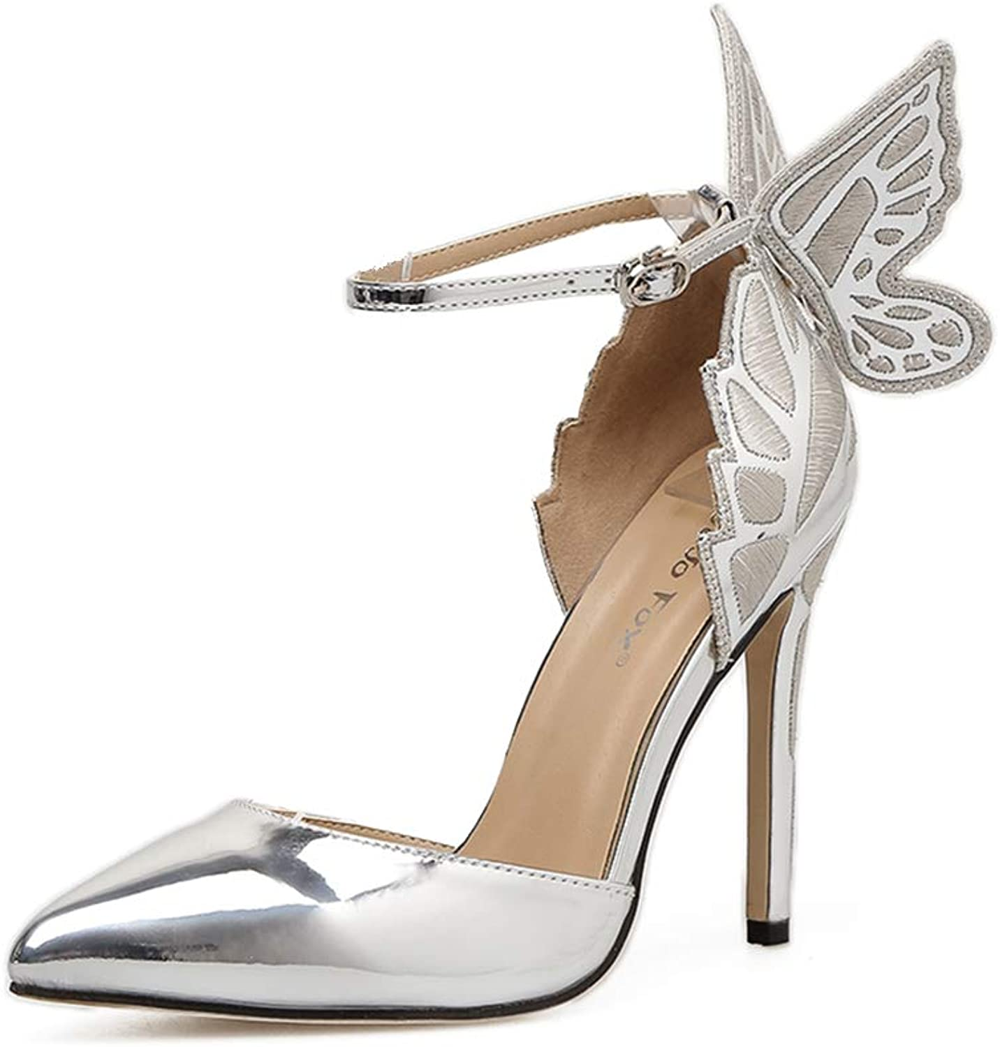 Womens High Heels Pointed Toe Slip on Stilettos Party Wedding Dress Pumps Basic shoes,Silver,40