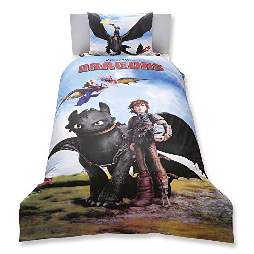 How To Train Your Dragon 3 Pcs Twin / Single Size 0 Cotton Duvet Cover Set Bedding Linens (Comforter sold separately, not in this set)