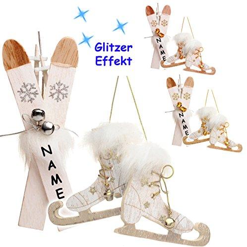 alles-meine.de GmbH 2 TLG. Set _  Ski mit Stöcken + Schlittschuhe mit Glöckchen - Farb-Mix  - incl. Name - aus Holz - 13,5 cm - Miniatur / Diorama - Anhänger - Weihnachtsdeko /..