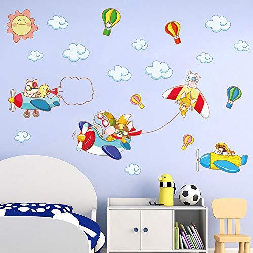 decalmile Pegatinas de Pared Animales Avión Pilotos Vinilos Decorativos Globos Aerostáticos Adhesivos Pared Habitación Bebés Niños Guardería Dormitorio