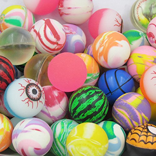 si ying 20 Pieces Bouncy Ball Toy Mixed Candy Machine Coin Elastic Ball Assorted Super Bouncy Balls