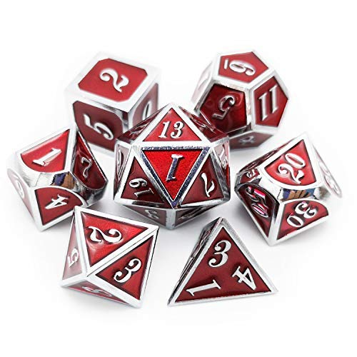 Haxtec Metal Dice Set D&D Red Silver DND Dice Set for Dungeons and Dragons RPG Games-Glossy Enamel Dice (Silver Red)