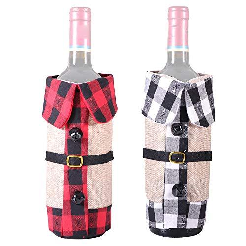 Camisin - Funda para botellas de vino de Navidad, 2 unidades, para bodas, recuerdos de fiestas, Navidad, vacaciones y degustación de vino