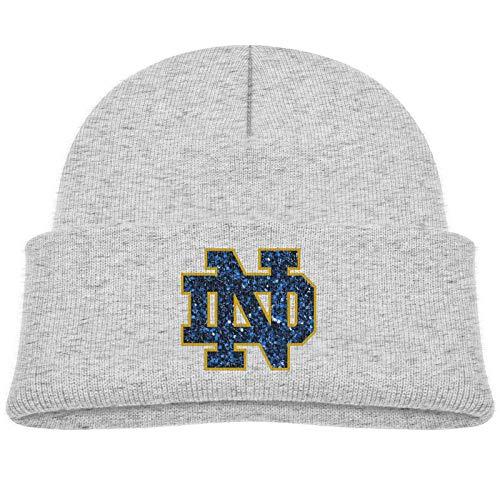 Kids Winter University of Notre Dame Logo Knit Hat Beanie Skull Cap for Children Gray