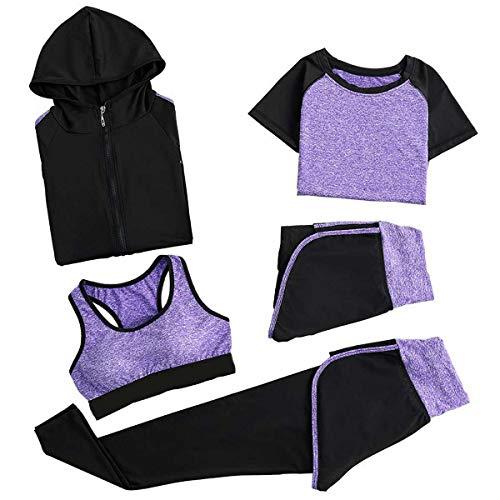 GLXQIJ Conjuntos De Damas Sportwear 5 X, Sostén Deportivo, Camiseta, Abrigo, Pantalones Y Corta, Suaves Cómodas De Secado Rápido Chándales,Púrpura,L
