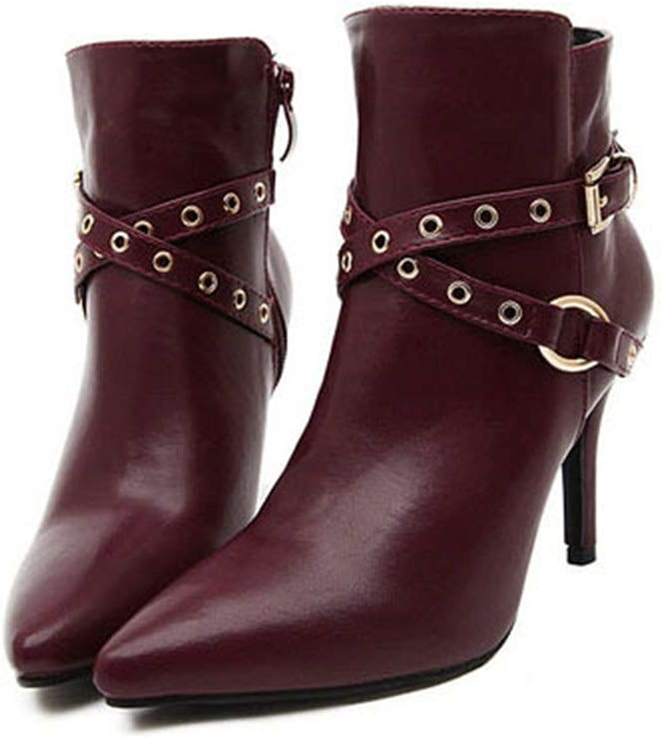 Winter Ladies Pointed Boots Belt Buckle Large Size PU Leather Warm Imitation Leather Lining
