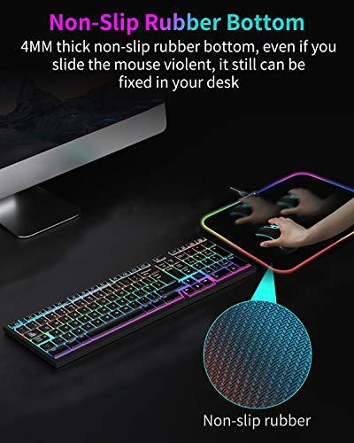 Gaming Mauspad, RGB Mouse Pad Schwarz mit 7 LED Farben 14 Beleuchtungs Modi, Wasserdicht Anti Rutsch Mousepads für Spiele, Computer, Laptop