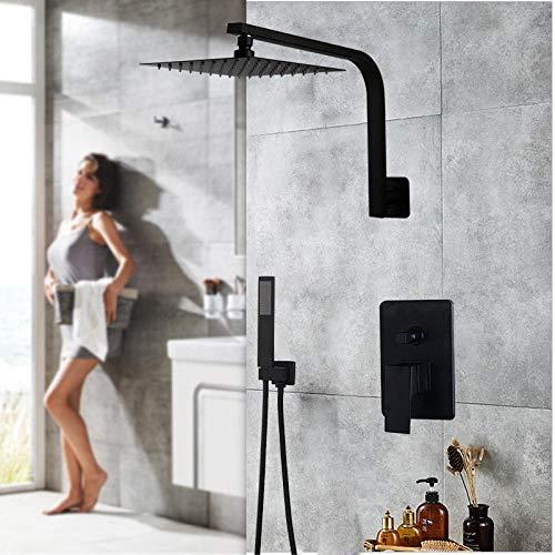 Gnailur Juego de ducha de baño de baño de cisne de 10 pulgadas montada en la pared Mate Matte Black Ultra-Thin Ducha Cabeza de ducha y mano Ducha Grifo