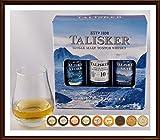 Talisker Single Malt Whisky 3er Set je 50ml Storm, Skye & 10 Jahre mit Glas & 9 DreiMeister Edel Schokoladen, kostenloser Versand