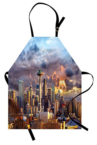 Lunarable USA Apron, Seattle Skyline at Sunset WA United States Beams Through Dramatic Cloudscape Scenery, Unisex Kitchen Bib with Adjustable Neck for Cooking Gardening, Adult Size, Grey Blue