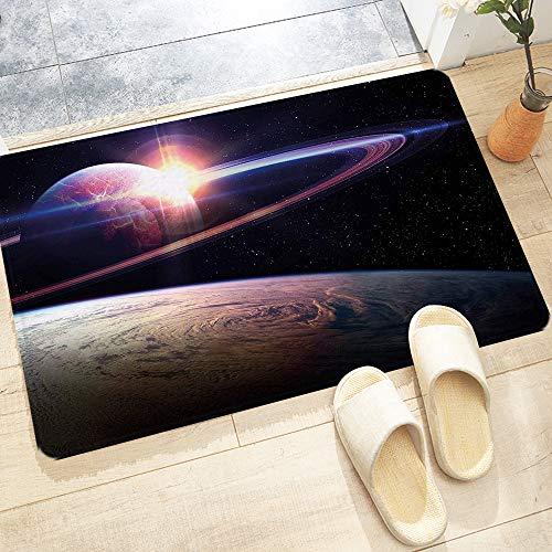 Badematte, rutschfest Waschbar Badezimmerteppich 60X100 cm, Galaxy Sonnenuntergang im Weltraum Universum Saturn Blick vom Plan,Trocknend und Schimmelresistent Badteppich für Badezimmer, Küche, Schnell
