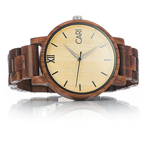 Cari Herren Holz Armbanduhr Havanna Walnussholz Braun HA-060356
