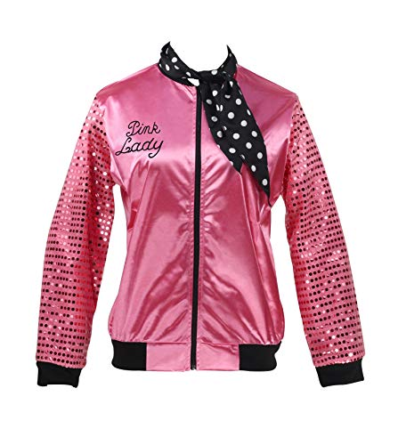 Pink Jacket Sequin Sleeve with Neck Scarf Women Costume Fancy Dress