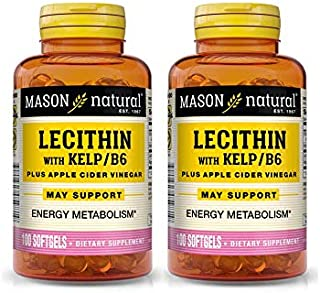 2 Pack Special of Mason Natural Lecithin/KELP/B-6 SOFTGELS 100 per Bottle