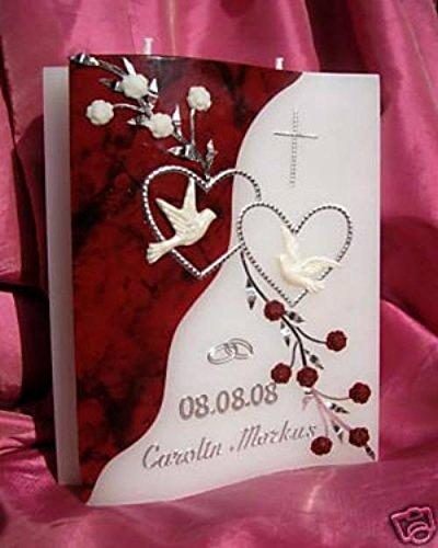 kerzenzauber-lusine Hochzeitskerze Welle 200/150/40 mm inkl. Zubehör für selbstbeschriften VH-05