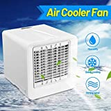 Portable Mini Air Conditioner USB Cool Cooling Fan Cooler Desktops Humidifier for Home Offices Kitchen (White, 6.3x6.3in)