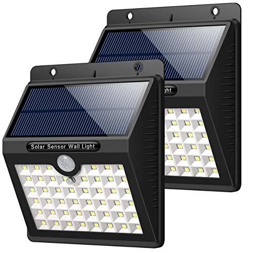 HETP Solarleuchte für Außen, [2 Stück] 46 LED Solarlampe Superhelle Solarleuchte Garten mit Bewegungsmelder Sicherheitswandleuchte Wandleuchte 3 Modi [1800mAh] wasserdichte Solarleuchten Garten