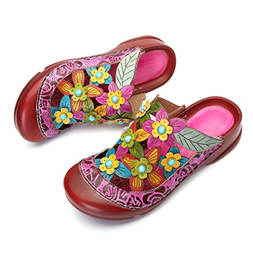 cute leather flower sandals