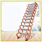 Aluminum Alloy Household Retractable Ladder for Loft Home Folding Step Ladder Attic pulldown Ladder Hinge (Vertical Height 3 m)
