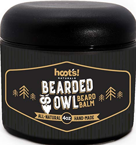 Hoot's Naturals Beard Balm, Extra Large 4oz Organic Beard Oil & Butter Recipe with No Added Fragrance - Leave-In Beard Softener & Conditioner, That Thickens, Strengthens & Styles Facial Hair Growth
