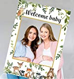Woodland Baby Shower Decorations-Welcome Baby Photo Booth Frame for Boy or Girl Gender Neutral Party, Woodland Animals Photo Booth Frame Woodland Creatures Theme Baby Shower & Birthday Party