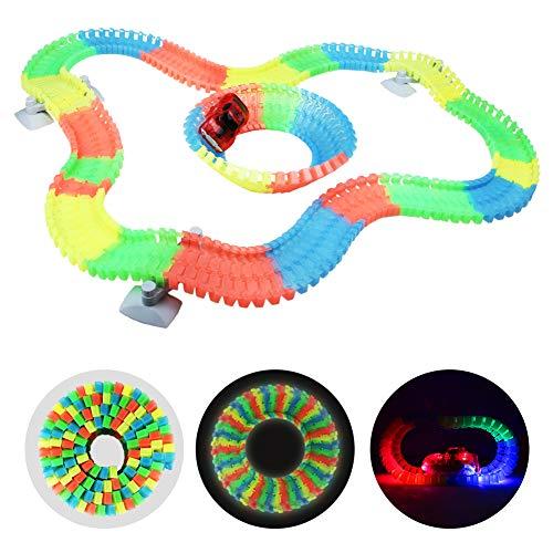 Coches de Juguetes Circuito Coches Luminosos Pistas de Carreras Coches Juguetes Niños 3+ Años(190+ Piezas)