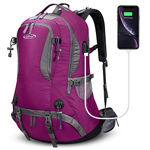 G4Free 50L Rucksack Hiking Backpack Mountaineering Bag Waterproof Travel Camping Trekking Daypack Outdoor Sports Backpack with Rain Cover for Men Women (Rose Red)