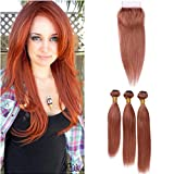 Copper Red Straight Peruvian Virgin Hair Weaves with Closure #33 Dark Auburn Human Hair Lace Closure 4x4 with 3 Bundles Reddish Brown Hair Extensions with Closure (14 14 14 with 12)