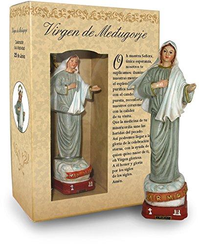 Ferrari & Arrighetti Estatua Virgen de Medjugorje de 12 cm con Caja de Regalo y marcapáginas (en ESPAÑOL)