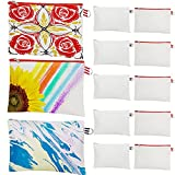 10 Pieces Sublimation Blanks Products Makeup Bags, Multipurpose DIY Heat Transfer Cosmetic Bag Pencil Bags, Sublimation Polyester Zipper Pouch for Teacher Nurse Travel Craft School Mothers Day Gifts