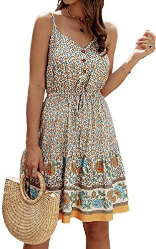 Spec4Y Damen Kleider Kurz Blumen Sommerkleid Swing V Ausschnitt Ärmellos Minikleid A Linie Skatekleid 192 Aprikose X-Large