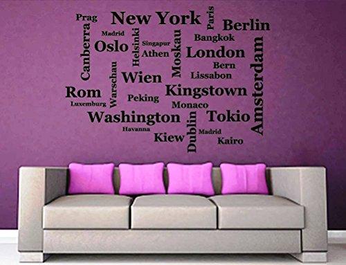 Wandtattoo-Wandaufkleber - ***Hauptstädte (NEW YORK, London, BERLIN, Tokio,....)*** - (Größen.- und Farbauswahl)