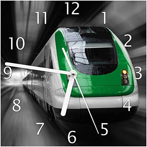 Wallario Glas-Uhr Echtglas Wanduhr Motivuhr; in Premium-Qualität; Größe: 20x20cm; Motiv: Fahrender Zug von vorn in grün - Perspektive von vorn