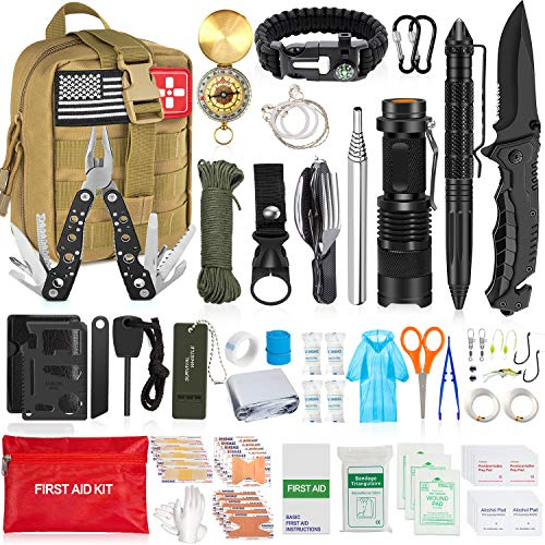 Aokiwo 126Pcs Emergency Survival First Aid Kit Professional Survival Gear Tool SOS Emergency Tactical Knife Pliers Pen Blanket Bracelets Compass with Molle Pouch for Camping Adventures (Brown)