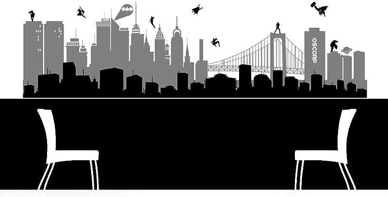 Superhero Wall Art Superhero Skyline Superhero Decal Super Hero Decor Super Hero Decal Super Hero Skyline Childrens Decor Boys Decor And Stick Made In USA
