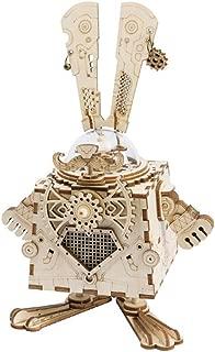 NAWN Modelo de Rompecabezas de Madera Cortado con láser, Kit Caja de música DIY Caja de música de Madera Robot Caja de música mecánica para Adultos Gran cumpleaños para Mujeres y Hombres