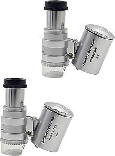 ULTECHNOVO Portátil 2Pcs Tamanho de Bolso Portátil Mini Microscópio 60X Zoom Microscópio Parágrafo Jewelers Eye Lupa Lupa ...