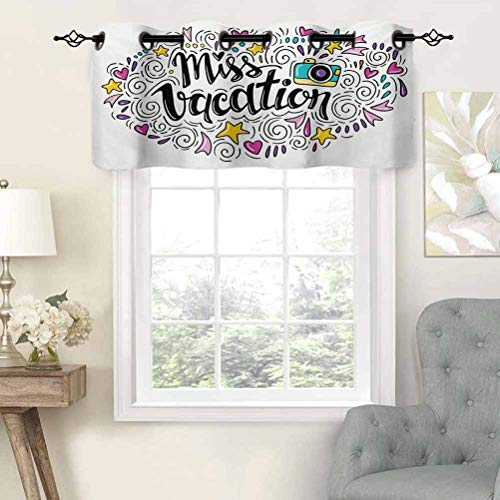 Hiiiman Grommet Top Curtain Panels Valances Cheerful Composition Miss Vacation Words Travel Theme Doodle Ornament Retro Camera, Set of 2, 42'x36' Thermal Insulated for Living Room