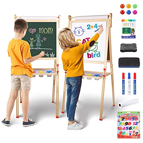 YOHOOLYO Kids Easel Wooden Children Art Easel Paper Roll,Double Sided Magnetic Whiteboard Chalkboard Dry Eraser Adjustable Height for Boys Girls Gifts