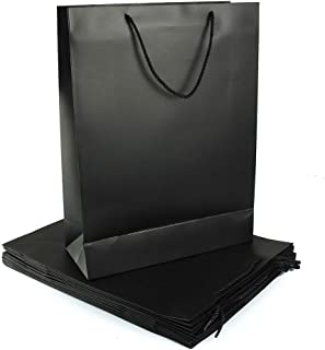 Rosymoment Party Paper Gift Bag, Black, YB-2, 12 Pieces