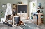 NEUHEIT Babyzimmer Emy'Kiruna' in Eiche San Remo und Graphit 6 teiliges Megaset von Wimex mit Schrank, Bett und Umbauseiten, Wickelkommode und Regalen