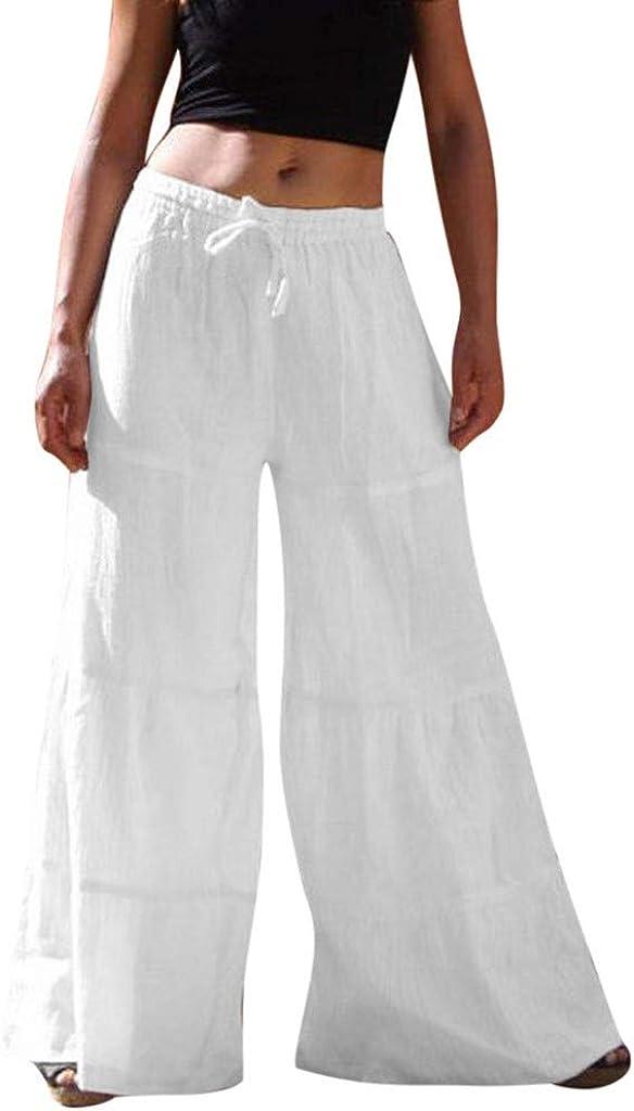 BBesty Women's Pants Big Sale!Women Pure Colour Elastic Waist Casual Cotton-Blend Broad-Legged Pants,for Casual,Sport