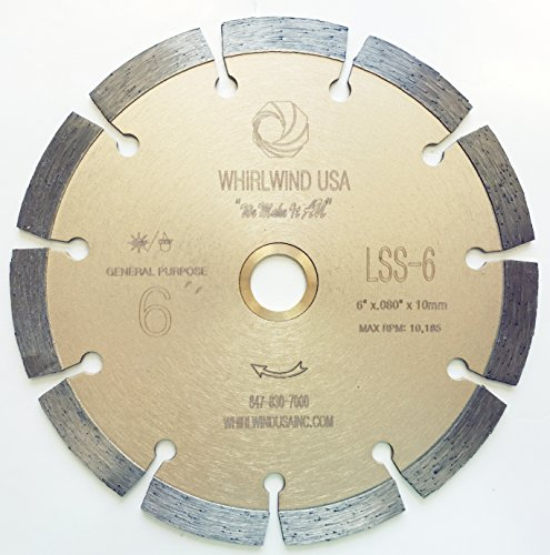 Whirlwind USA LSS 6 Inch Dry or Wet Cutting General Purpose Power Saw Segmented Diamond Blades for Concrete Stone Brick Masonry (Factory Direct Sale) (6')