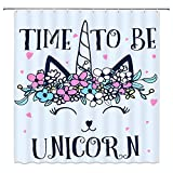 LIVEFUN Unicorn Shower Curtain, Cute Pink Magic Head Floral Colorful Flower Heart Shape Cartoon for Kids and Girls Bathroom Decoration Sets, 72 x 72 inches Fabric with 12 Hooks,Blue Black
