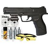 KIT Daisy 415 Powerline LÁSER - Pistola de aire comprimido (CO2) y balines de acero (perdigones BBS) calibre 4.5mm. Réplica + accesorios (150 m/s!)