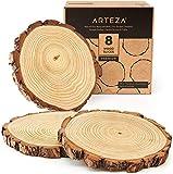 Arteza Rodajas de madera natural | 8 piezas | Diámetro 20-22 cm x 2 cm de grosor aprox. | Discos de madera para manualidades | Círculos lijados y pulidos | Ideales para pintar y como centros de mesa